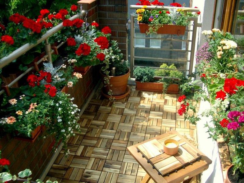 Дизайн цветами балконов