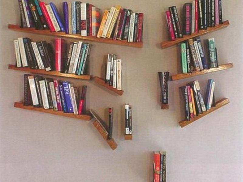 Варианты книжных полок своими руками 19
