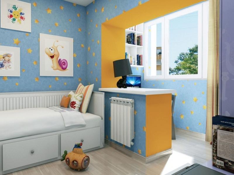 Интерьер совмещения комнаты подростка с балконом.