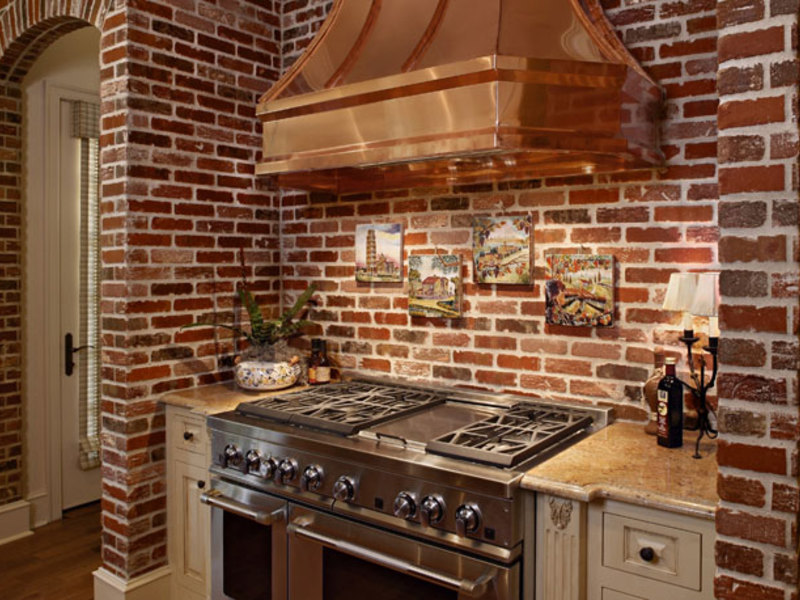 Дизайн кухни кирпичная кладка