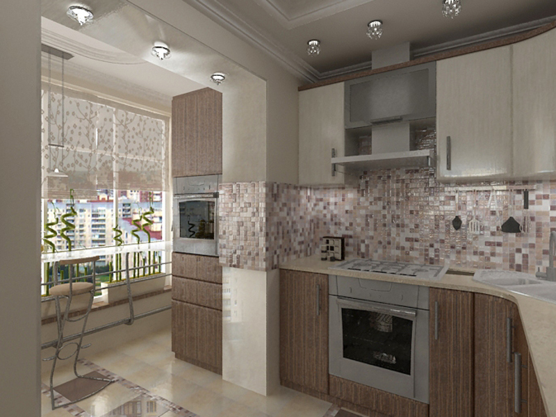 Кухня с выходом на лоджию дизайн